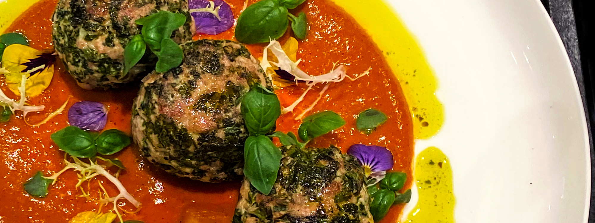 Chicken Kale Meatballs with Cannabis Infused Cherry Tomato Sauce